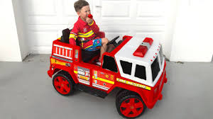 100 Fire Truck Power Wheels Funny BABY Senya Unboxing And Ride On FIRE Wheel FIRE