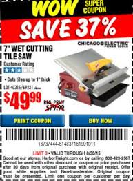 Chicago Electric Tile Saw 7 by Harbor Freight Tools Coupon Database Free Coupons 25 Percent
