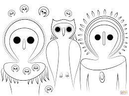 Click The Aboriginal Owls Coloring Pages