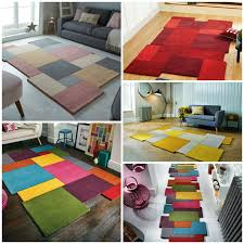 abstract collage multi coloured luxury wool rug in various