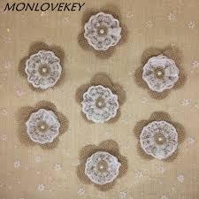 10pcs Lot 7cm Handmade Burlap Fabric Lace Rose Pearl Shabby Chic Flowers Natural Color Rustic