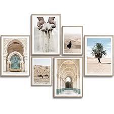 monoko wohnzimmer poster set premium bilder set für schlafzimmer stilvolle wandbilder 6er set ohne rahmen set beige marokko palme 4x a4