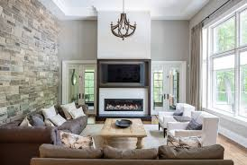 Family Room Stone Wall Ideas With Accent