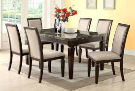 Dining Chairs Empire Black Genuine Marble 7 Piece Set American