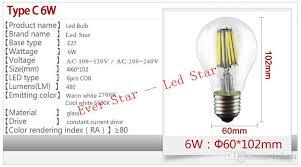e27 led filament light bulb ls dimmable 4w 6w 8w 360 degree