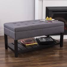 KSP Conrad Upholstered Storage Bench Grey