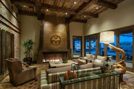 Large Family Room With Rustic Wood Ceiling