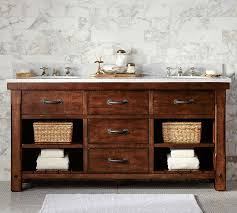Benchwright Double Sink Console Rustic Mahogany Finish