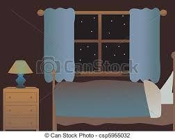vector illustration of empty bedroom at night cartoon room with