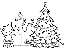 Coloring Page Christmas Hello Kitty And Tree Pages Line Drawings