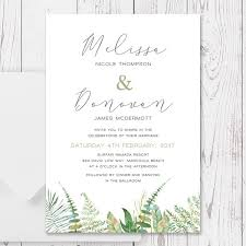 Green Fern Rustic Wedding Invitation Watercolour Foliage Leaves Printed On Premium Cardstock Peach