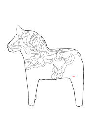 Swedish Dala Horse Coloring Page