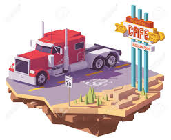 100 Semi Truck Toy Vector Low Poly Classic American Heavy Semi Truck On The Desert