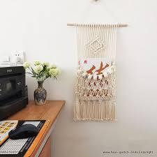 wohnzimmer schlafzimmer wand dekoration makramee magazin tasche