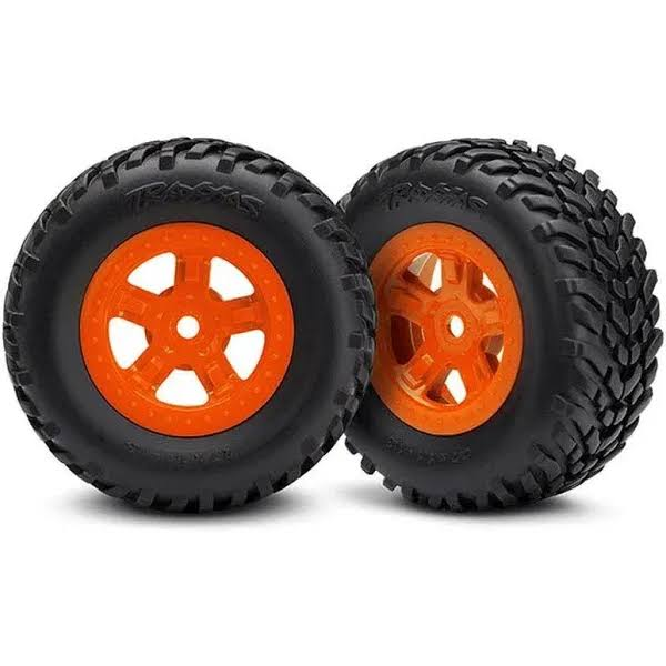Traxxas Tires and Wheels - Orange, 1.02""