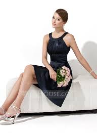 a line halter sleeveless knee length charmeuse bridesmaid dress