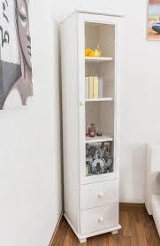 esszimmerschrank vitrine 40 cm breit kiefer massiv optik weiß