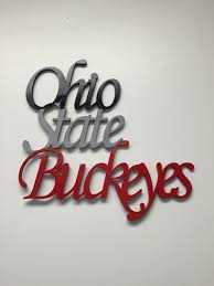 Ohio State Brutus Pumpkin Stencil by Ohio State Buckeyes Word Cut Out Buckeyes Script Wood Cut Out
