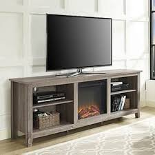 70 Inch Ash Grey TV Stand With Fireplace