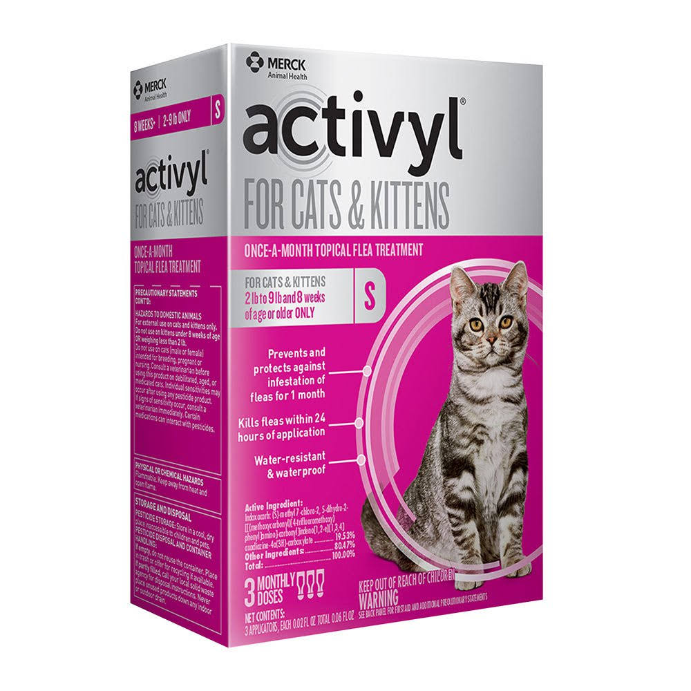 Activyl for Cats and Kittens Once-A-Month Flea Treatment for Small Cats - 3 Doses
