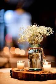 Wedding Table Center Pieces With Wood Block And Babies Breath Love This One It Would Be Simple Cheap Perfect