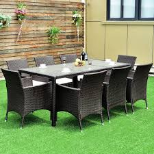 9 Pcs Patio Rattan Table Chairs Furniture Set | Furniture | Patio ...