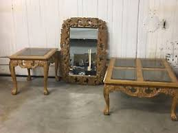 schnadig 3 piece wooden set hand carved wood end table mirror