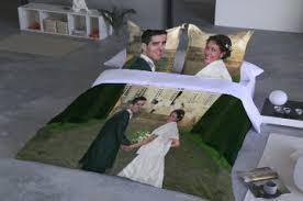 housse de couette personnalisée parure de lit beige et blanc