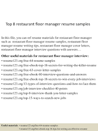 Top 8 Restaurant Floor Manager Resume Samples In This File You Can Ref Materials
