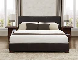 King Platform Bed With Leather Headboard by Platform Bed In Dark Brown Faux Leather Full Queen Or King