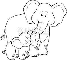 Coloring Book For Children Elephants Vector Art