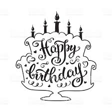 Happy Birthday Lettering In Cake With Candles stock vector art