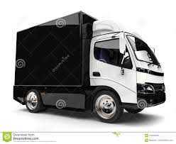 Black And White Small Box Truck Stock Illustration - Illustration Of ...