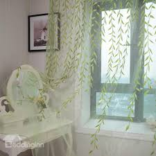 Brylane Home Sheer Curtains by New Arrival Fresh Green Leaves Pattern Custom Sheer Curtain