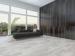 Minimalist Living Room Grey Hardwood Floor Dark Gray Sofa Brown Wall