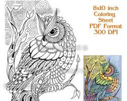 Moon Owl Fairy Tangles Adult Coloring Book Printalbe Sheet Owls Digi Pages Zentangle
