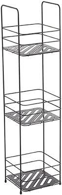 msv badregal mit 3 ablagen badezimmerregal standregal küchenregal aufbewahrung metall schwarz matt