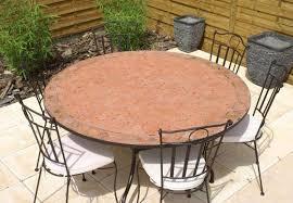 table ronde mosaique fer forge table jardin mosaique ronde 130cm terre cuite et losanges argile