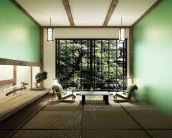 wohnzimmer mit tischkatana schwertle und bonsai baum