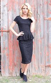 modest peplum dress in black lace