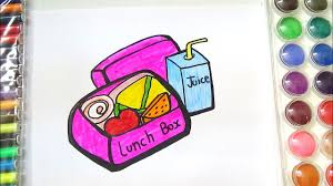 HOW TO DRAW AND COLOR LUNCH BOX FOR KIDS COLORING PAGE OF