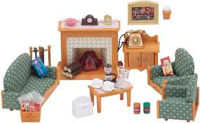 sylvanian families 5037 deluxe living room set multicolor