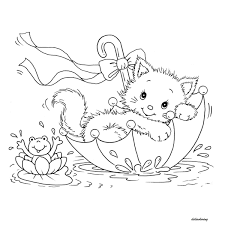 Didi Coloring Page Printable Kitty Cat And Frog In Umbrella Lovely