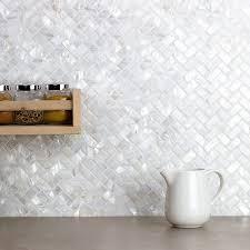 oyster white pearl herringbone tile