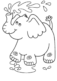 Elephant Coloring Pages Playing Water