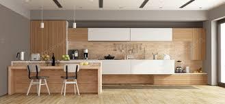 weiße und hölzerne moderne küche mit insel 3d rendering foto archideaphoto auf envato elements