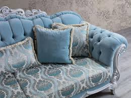 casa padrino luxus barock wohnzimmer sofa mit dekorativen kissen hellblau grau 237 x 90 x h 105 cm barock möbel edel prunkvoll