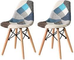 nicemoods patchwork stuhl 2er set retro esszimmer stühle home office möbel wohnzimmer wohnmöbel bunte stoffstühle patchwork blau
