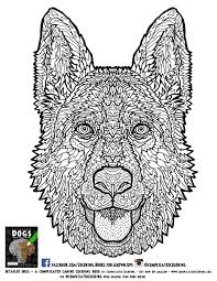 Detailed Dogs Coloring Book Free German Shepherd Page
