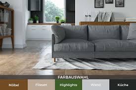 schlichte farbwahl im wohnzimmer mit offener küche hansa